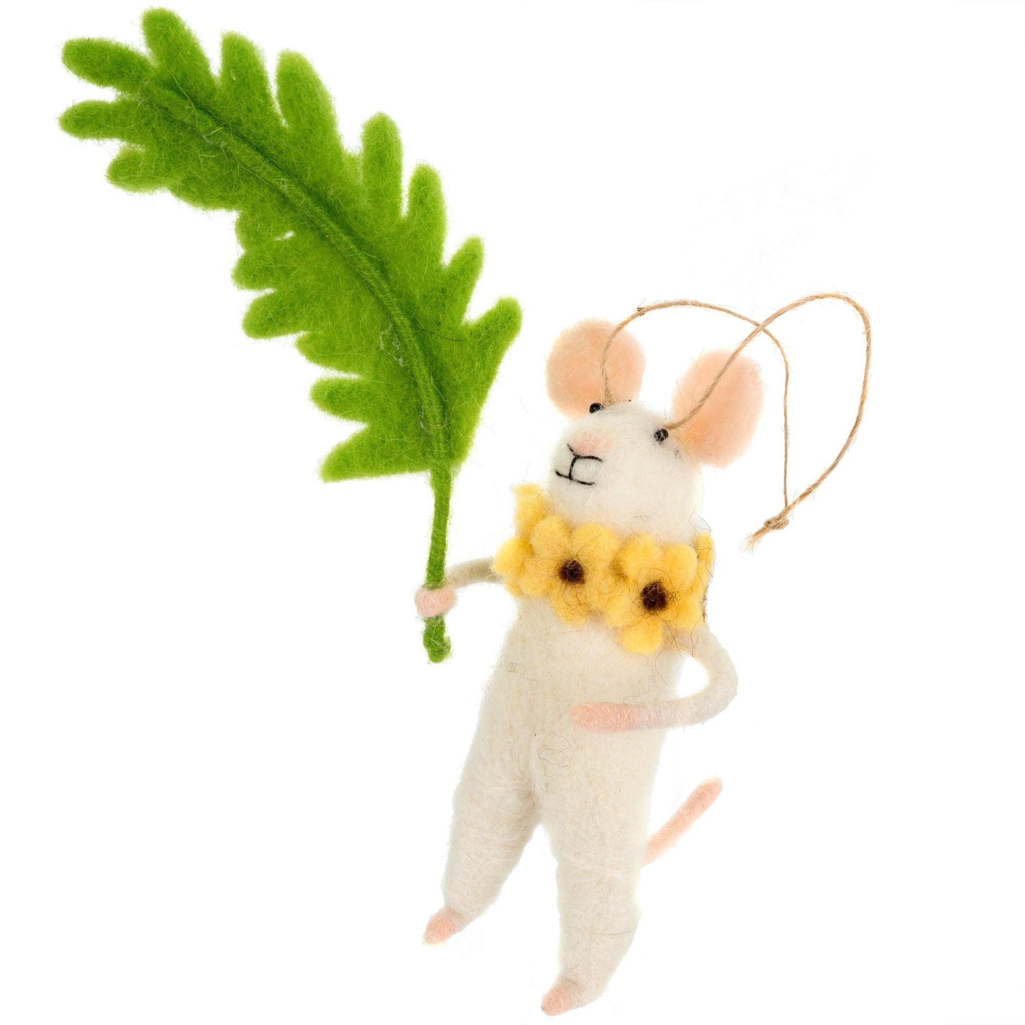 """Fiona Fern"" Felted Mouse Ornament"
