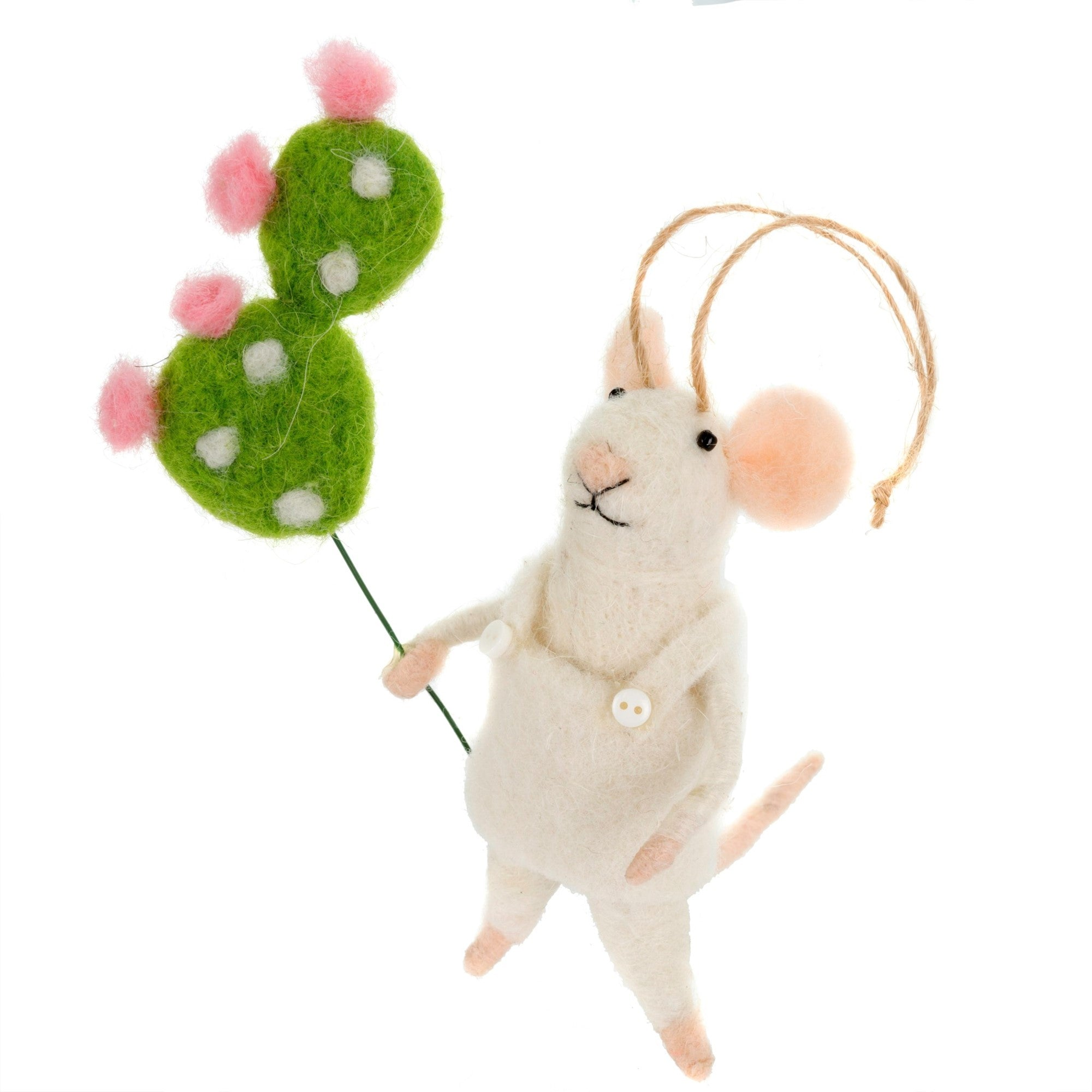 """Cactus Rosa"" Felted Mouse Ornament"