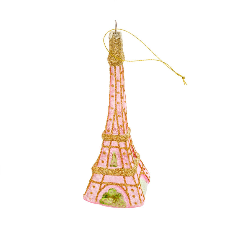 Eiffel Tower Glass Ornament - Pink -  Putti Christmas Canada