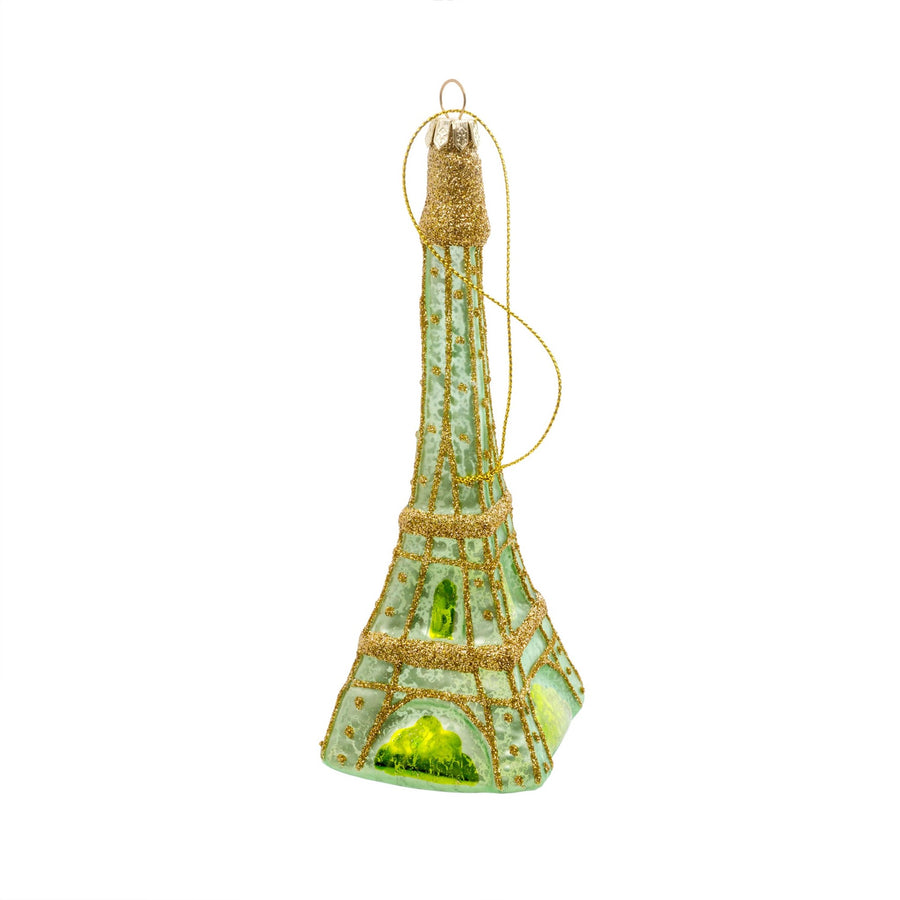 Eiffel Tower Glass Ornament - Mint Green