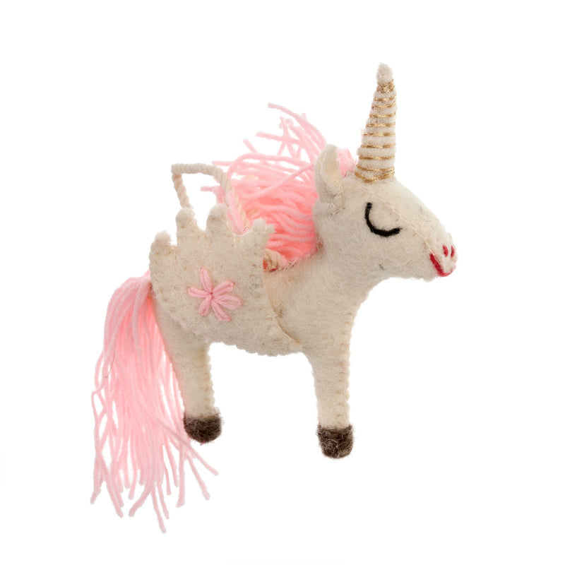 Pink Unicorn Felted Ornament