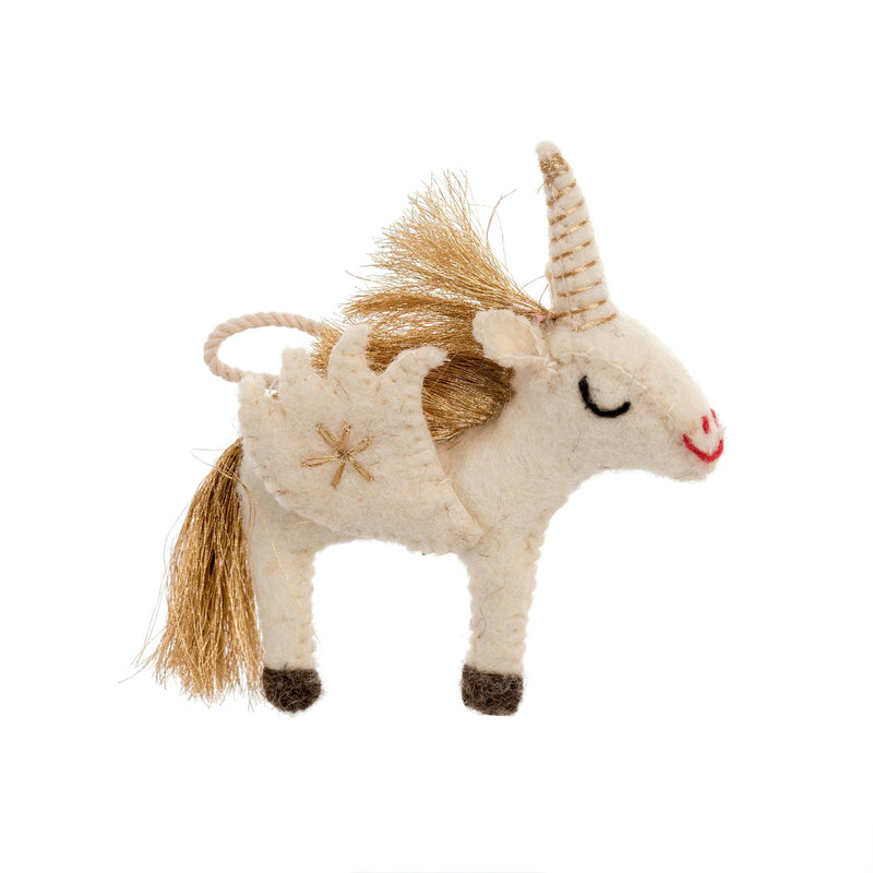 Gold Unicorn Felted Ornament