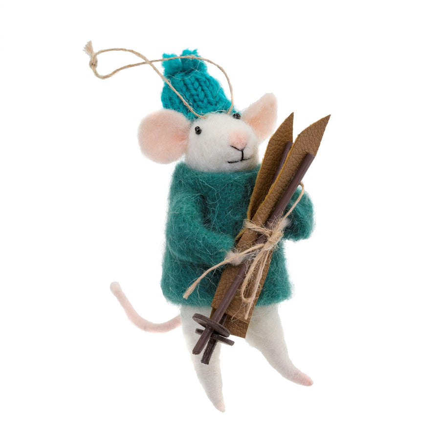 """Après-Ski Andrew"" Felted Mouse Ornament"