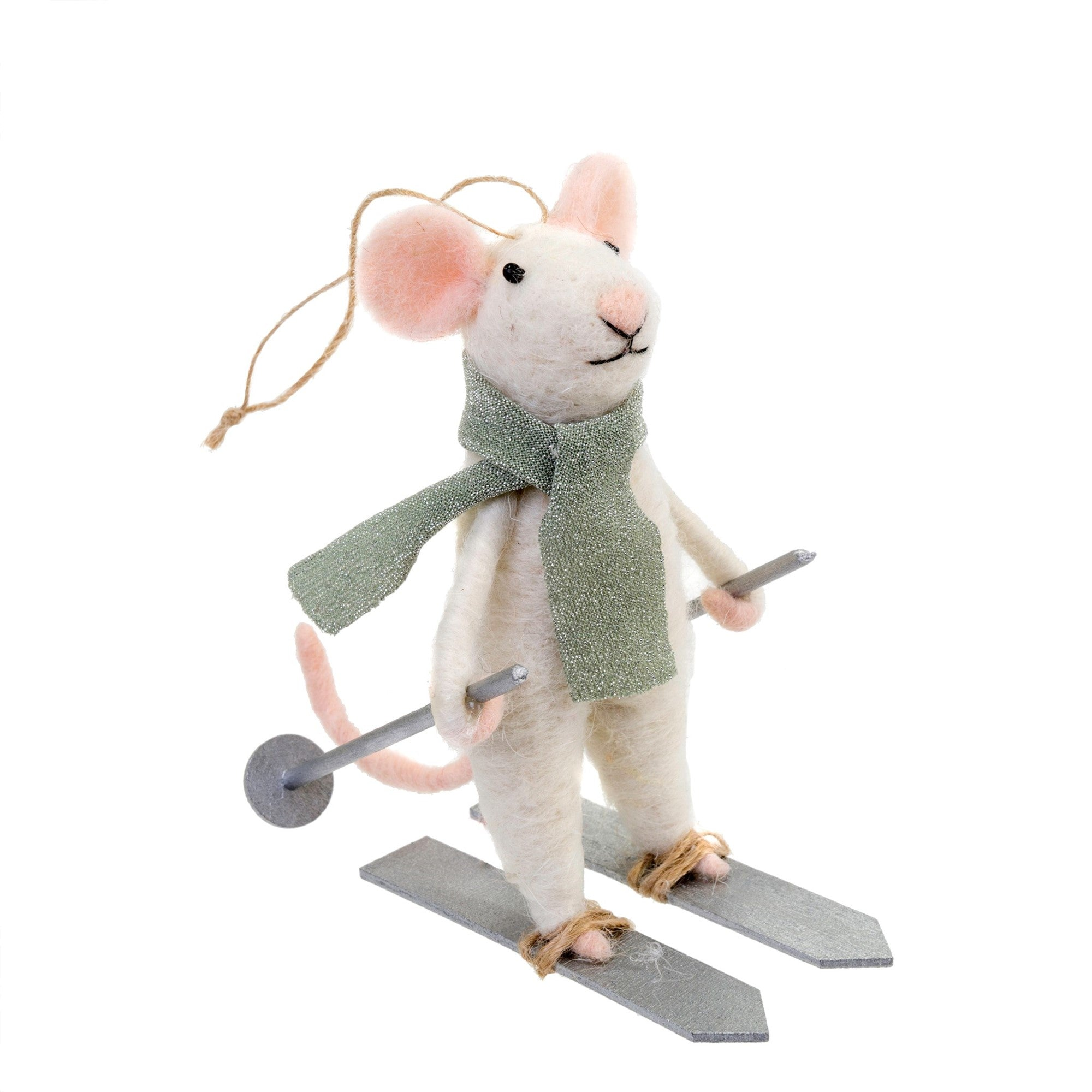 """Downhill Dennis"" Felted Mouse Ornament - Le Petite Putti Canada"