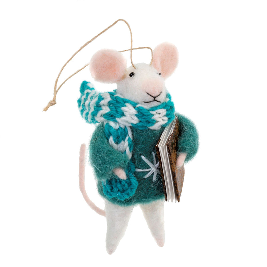 """Caroling Carl"" Felted Mouse Ornament"