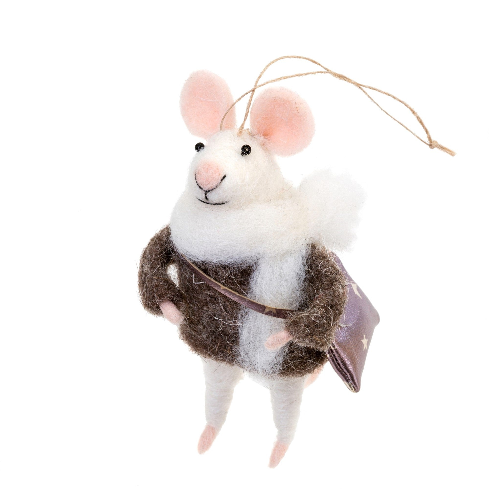 """Collegiate Cam"" Felted Mouse Ornament"