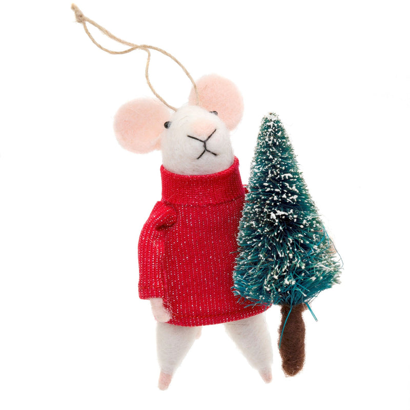 """Tree Trimmer Tom"" Felted Mouse Ornament"