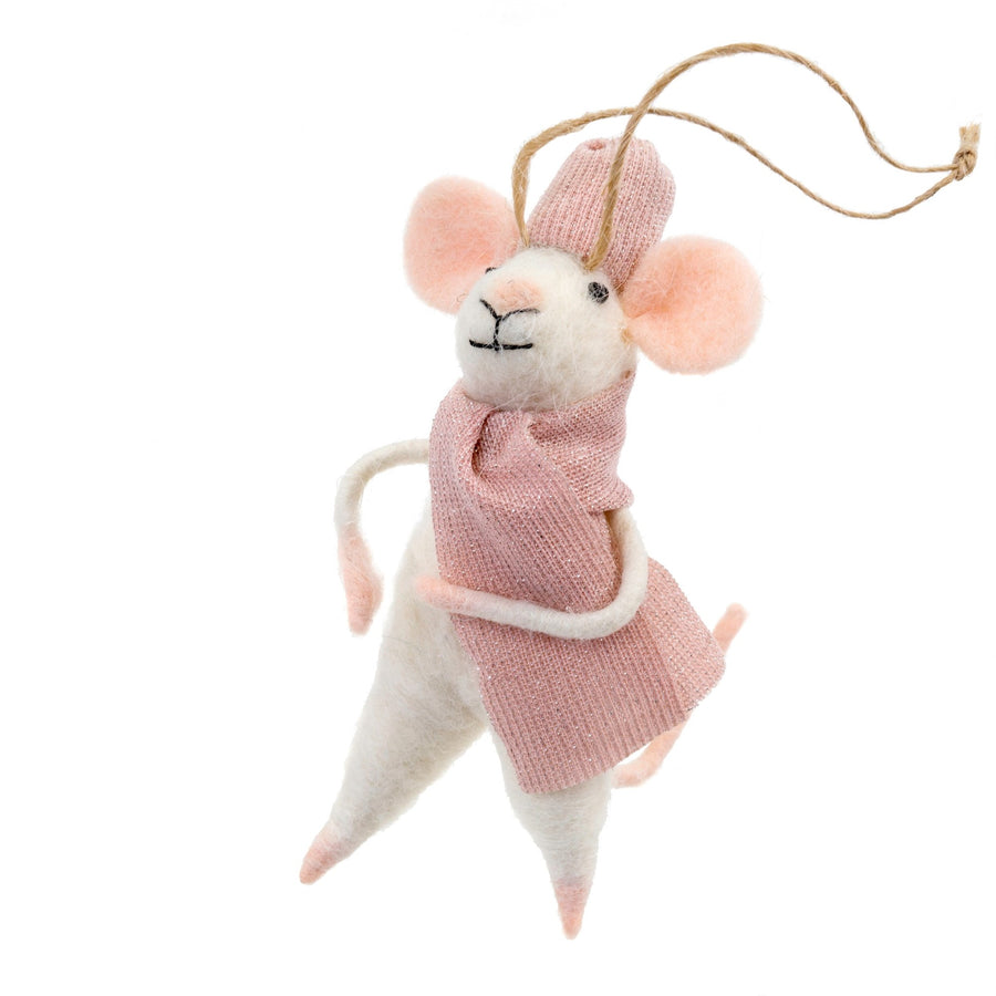 """Cozy Claudette"" Felted Mouse Ornament"