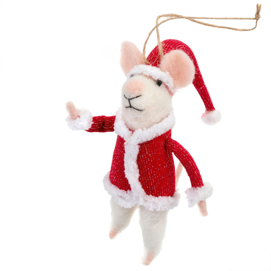 """Santa"" Felted Mouse Ornament"