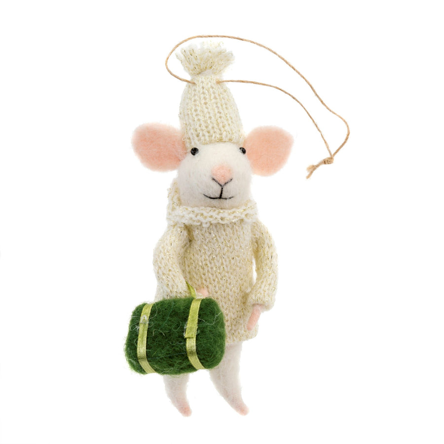"""Travelling Tim"" Felted Mouse with Suitcase Ornament"