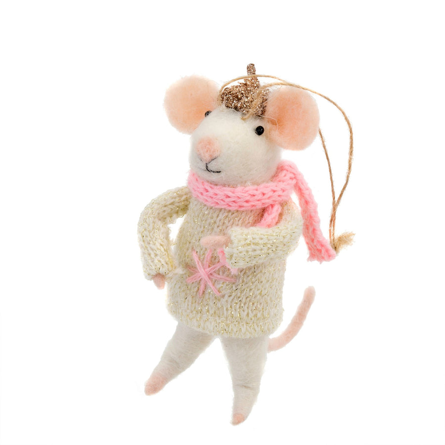 """Bundled Up Betty"" Felted Mouse Ornament"