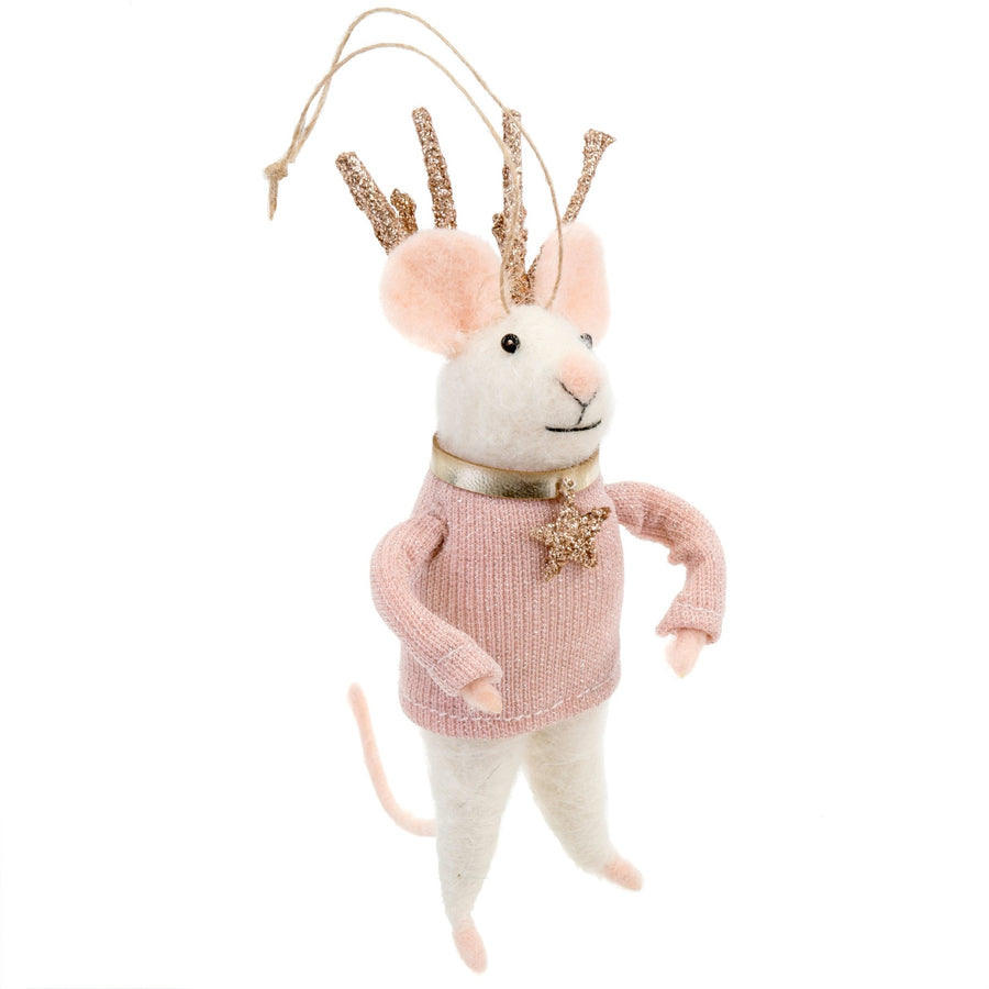 """Miss Blitzen"" Felted Mouse Ornament"