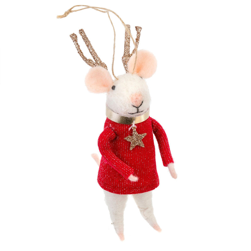 """Reindeer"" Felted Mouse Ornament"
