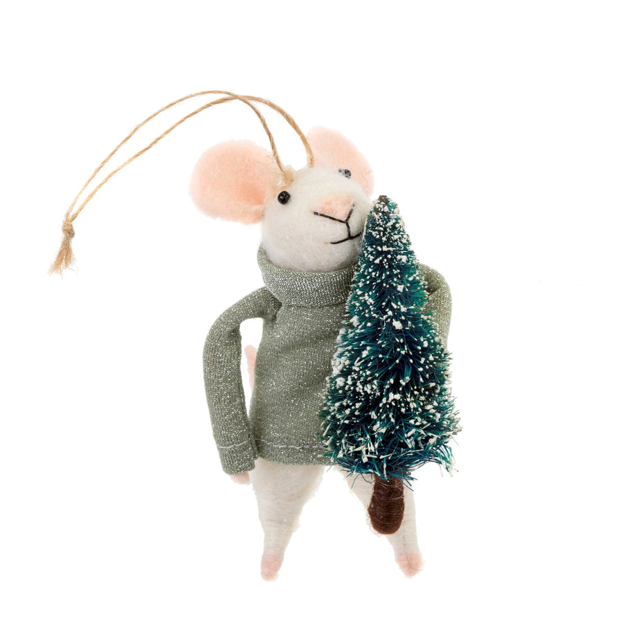 """Festive Frank"" Felted Mouse Ornament"