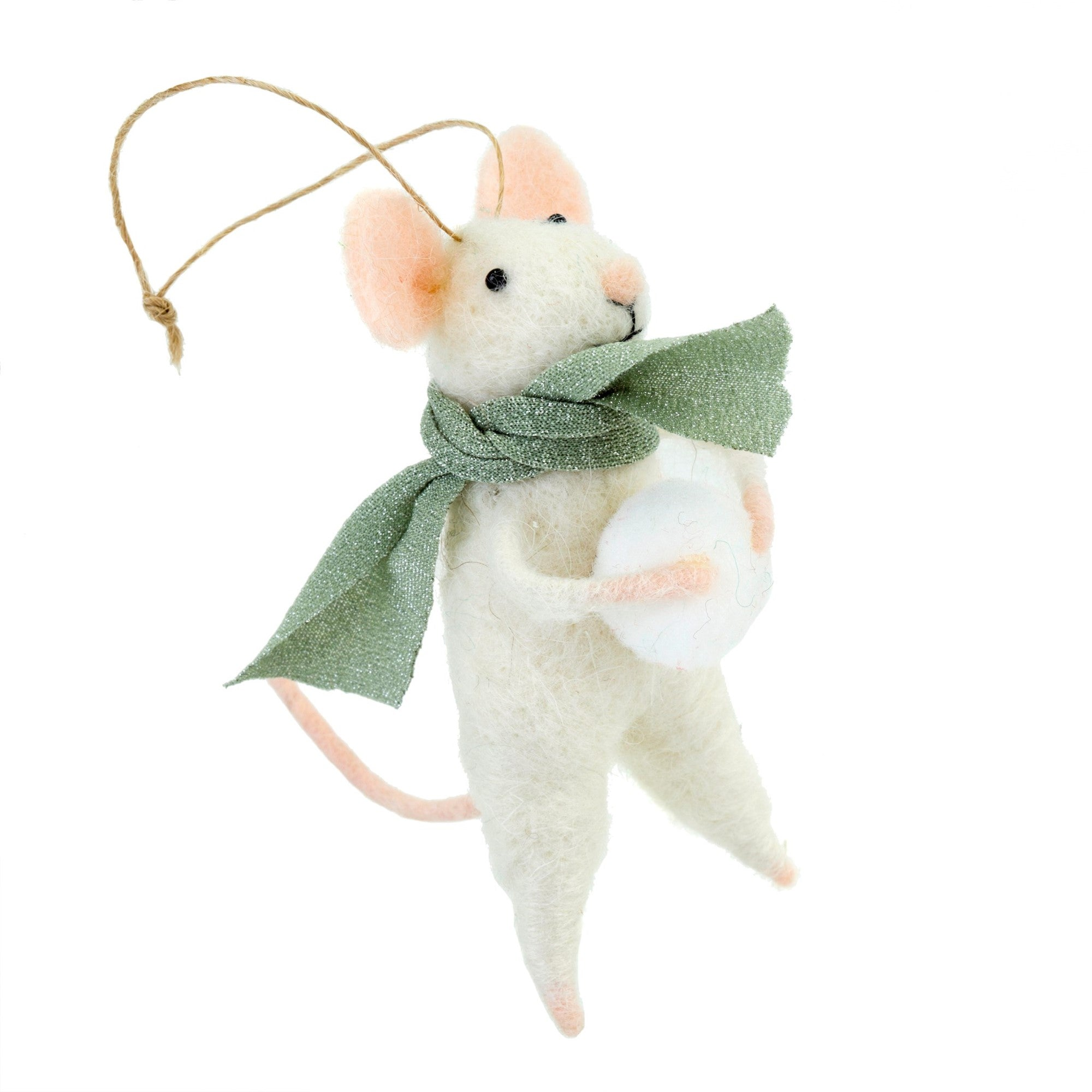 """Snowball Sal"" Felted Mouse Ornament"