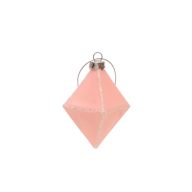 Pink Geo Diamond Glass Ornament | Putti Christmas Decorations