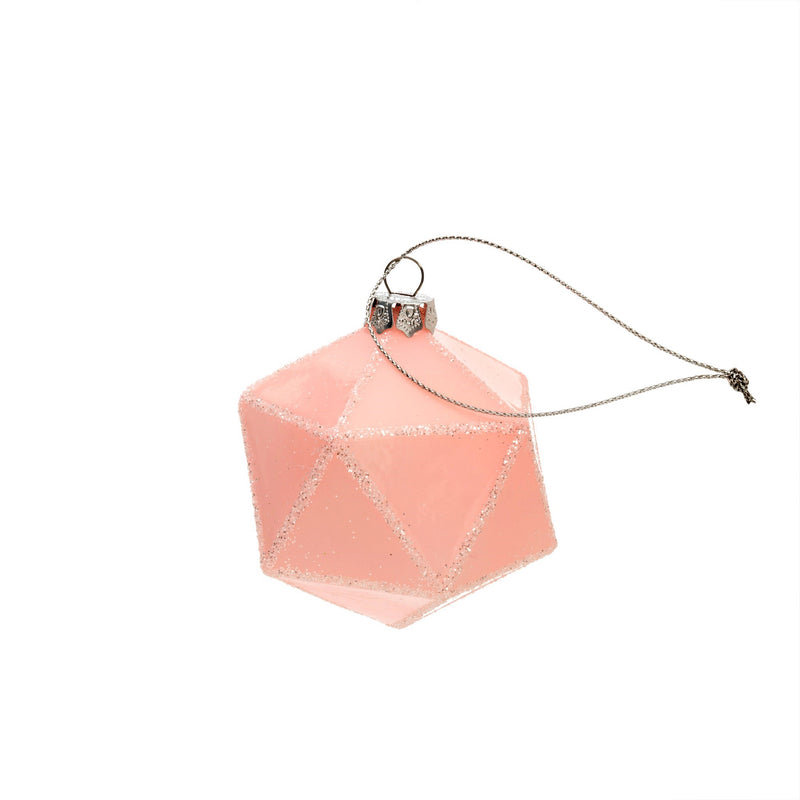 Blush Pink Geo Ball Glass Ornament