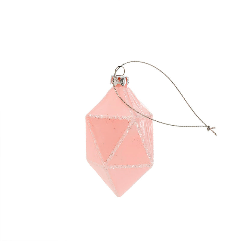 Blush Pink Geo Drop Glass Ornament