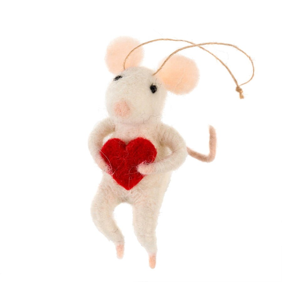 """Love You"" Felted Mini Mouse Ornament"