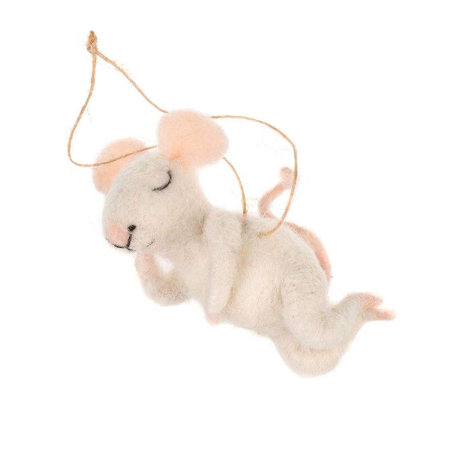 """Snoozing Sid"" Felted Mini Mouse Ornament"