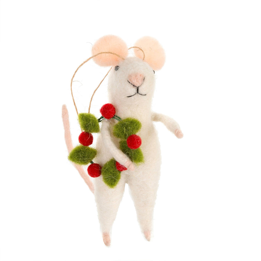 """Jolly Jones"" Felted Mouse with Wreath Ornament"