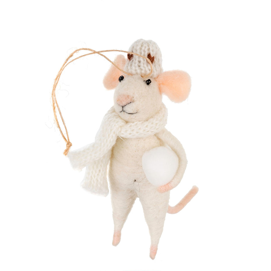 """Snowball Stewart"" Felted Mouse Ornament"