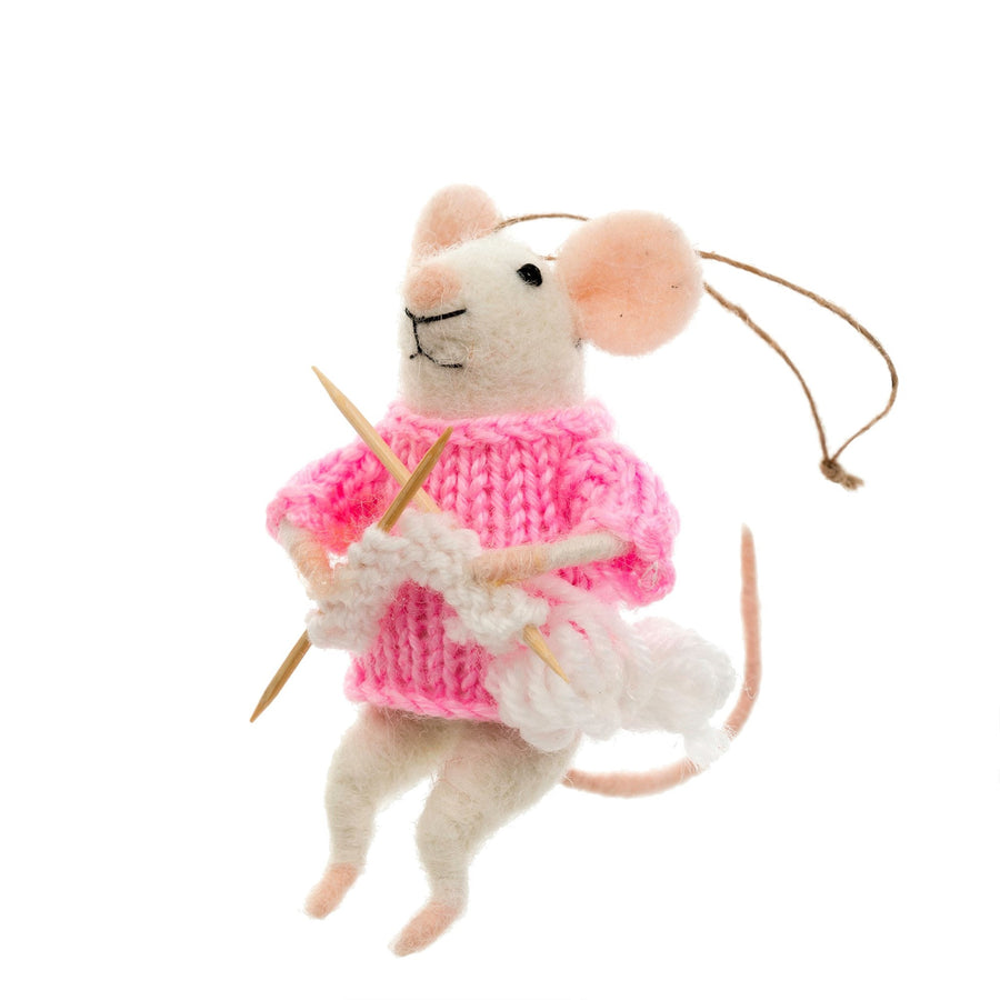 """Knitting Nadine"" Felted Mouse Ornament"