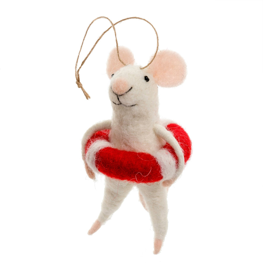 """Lifeguard Lily"" Felted Mouse Ornament"