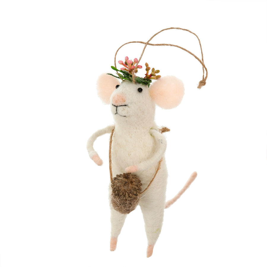 """Coachella Mouse"" Felted Mouse Ornament"