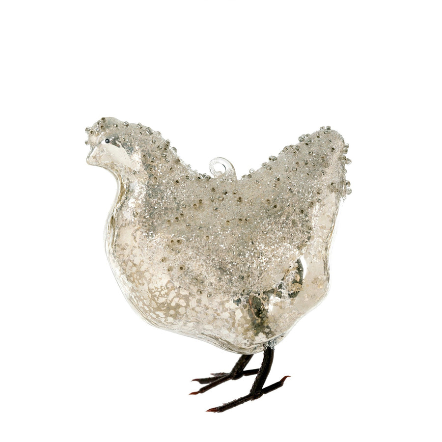 Glass Chicken Ornament