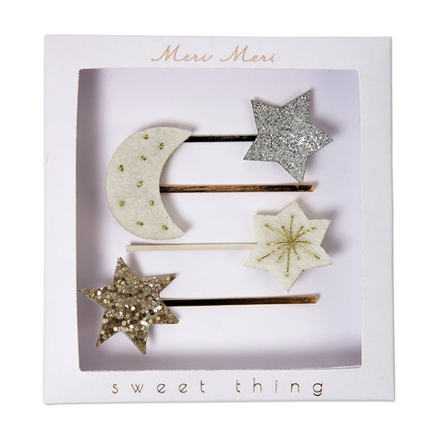 Meri Meri Moon And Star Hair Pins-Children's Giftware-MM-Meri Meri UK-Putti Fine Furnishings