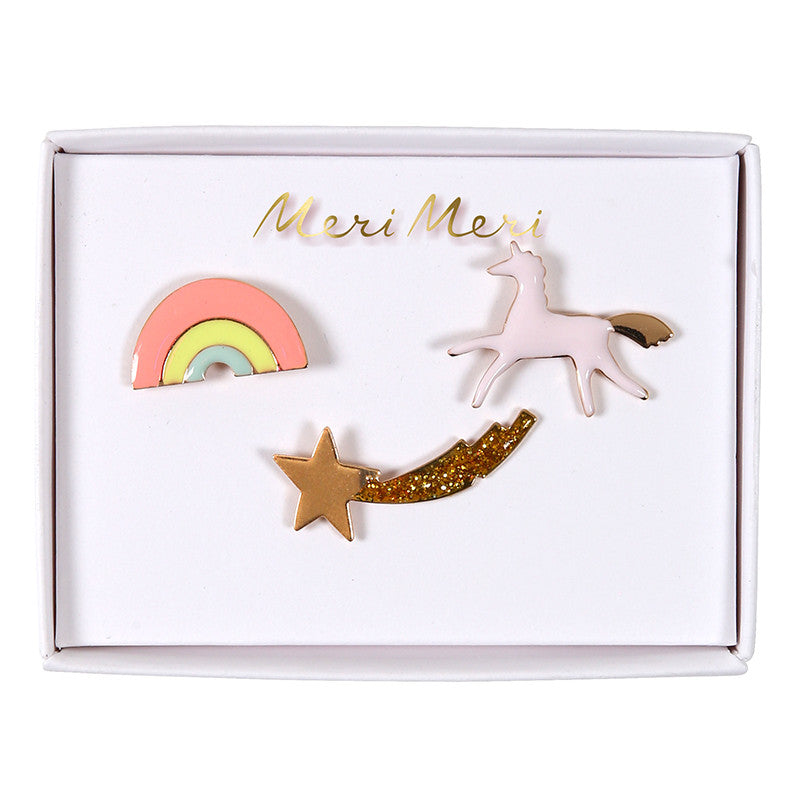 """I Believe in Unicorns"" Enamel Pins -  Party Supplies - Meri Meri UK - Putti Fine Furnishings Toronto Canada"