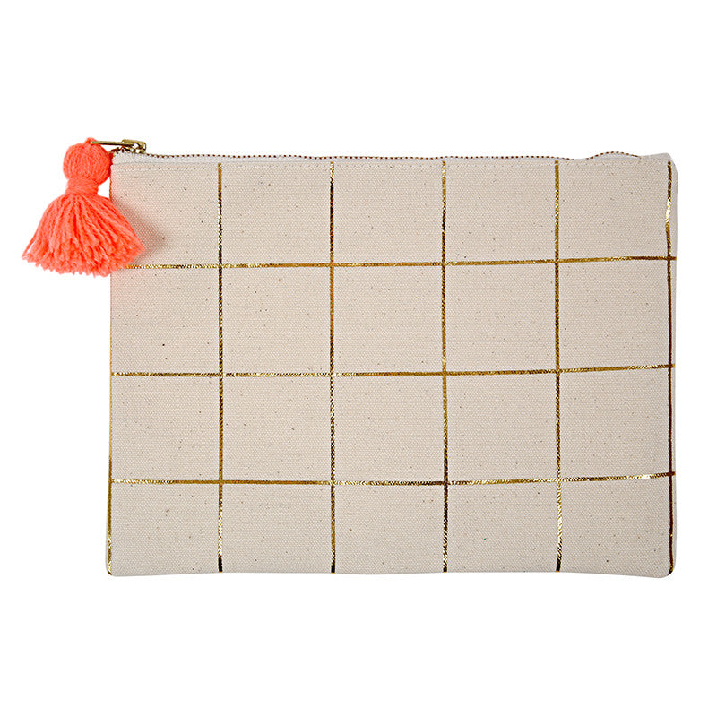 Gold Foil Grid Canvas Pouch, MM-Meri Meri UK, Putti Fine Furnishings