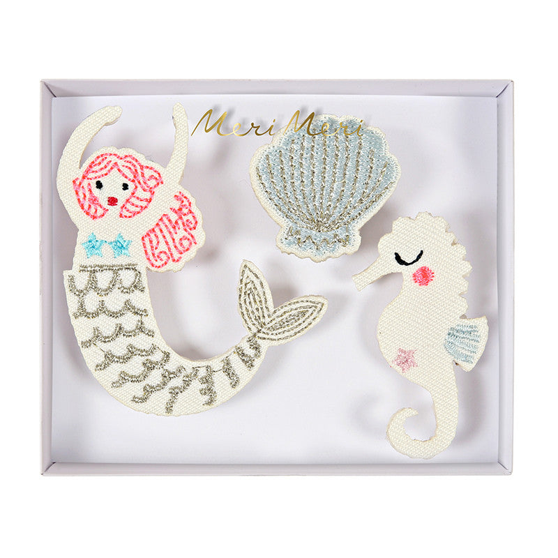 """Let's be Mermaids"" Embroidered Brooches -  Party Supplies - Meri Meri UK - Putti Fine Furnishings Toronto Canada"