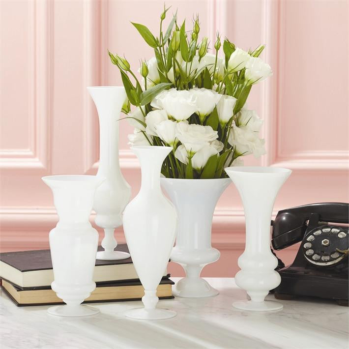 """Maison Blanche"" White Glass Vase"