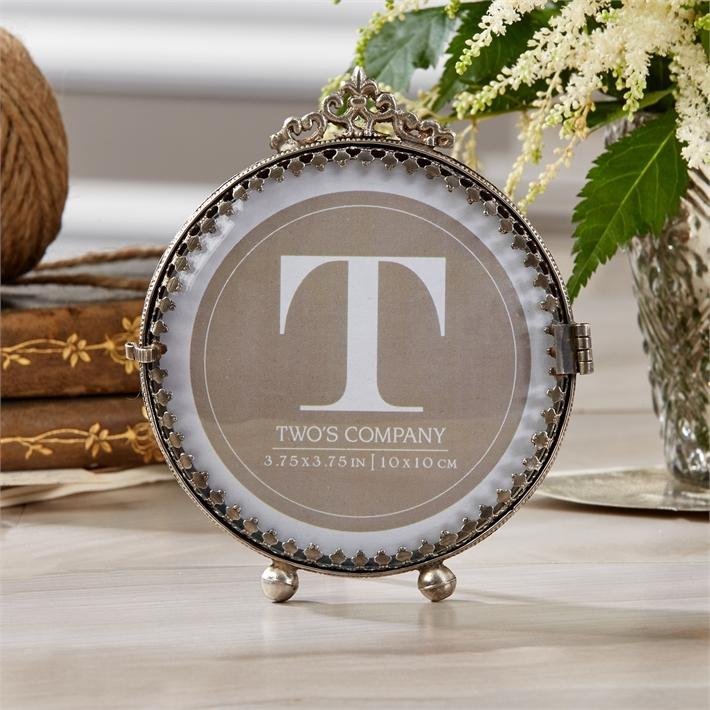 """Rosalie"" Antiqued Silver Curved Glass Photo Frame"