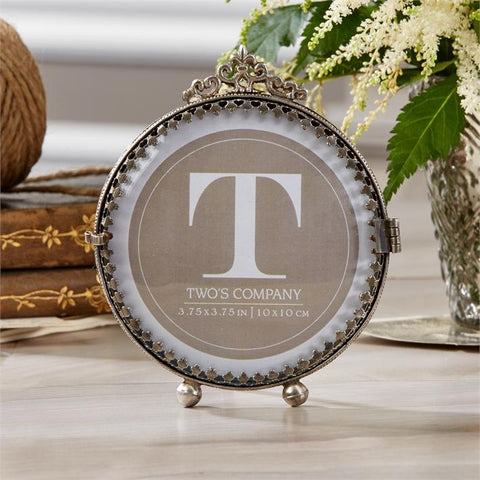 """Rosalie"" Antiqued Silver Curved Glass Photo Frame, TC-Two's Company, Putti Fine Furnishings"