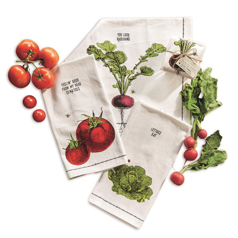 """Farm to Table"" Dish Towel in Berry Basket - Radish"