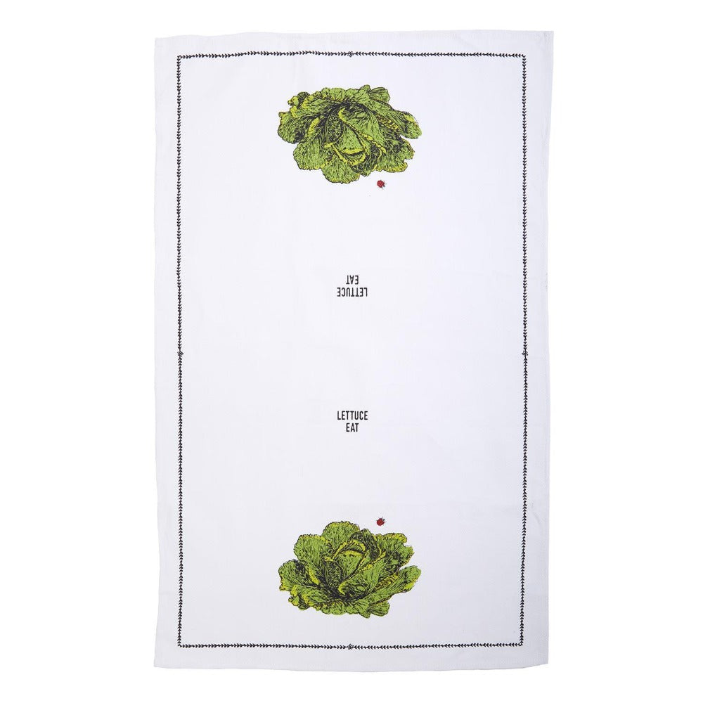 """Farm to Table"" Dish Towel in Berry Basket - Lettuce"