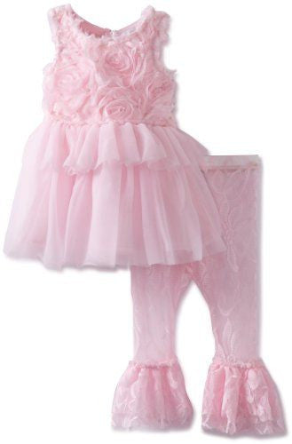 Mud Pie Pink Rosette Dress with Leggings-Dresses-MP-Mud Pie-Size 12-18m-Putti Fine Furnishings
