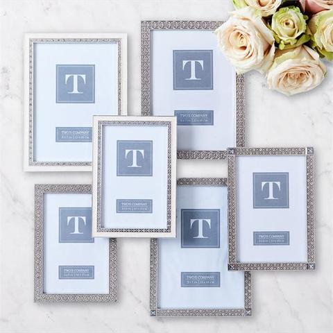 Elegant Silver Ornate Jewelled Photo Frames