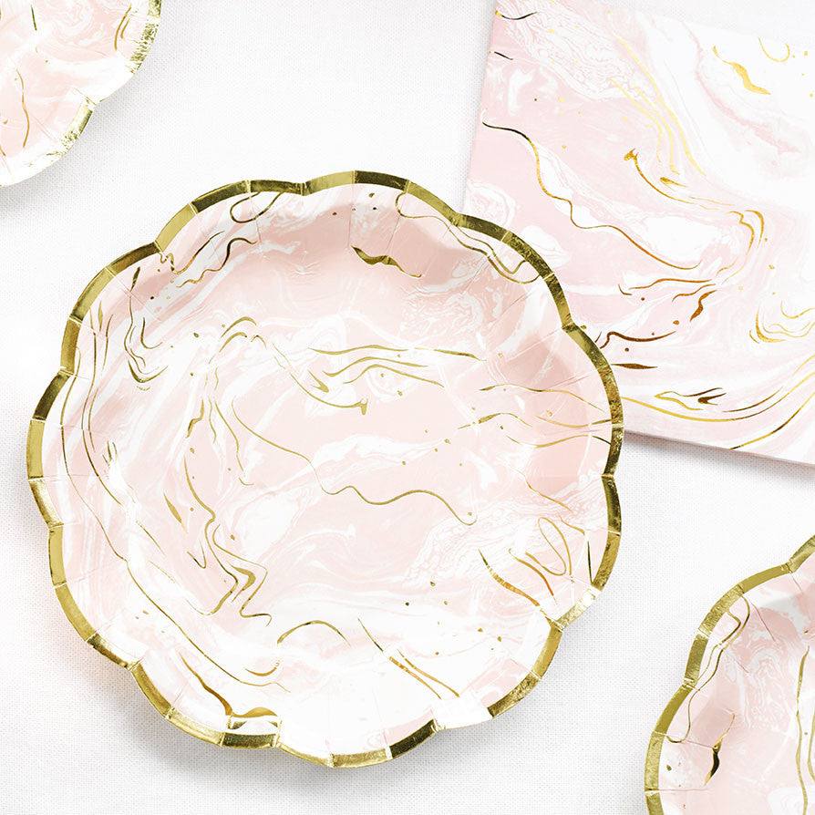 Party Porcelain Rose - Marble Plates Small