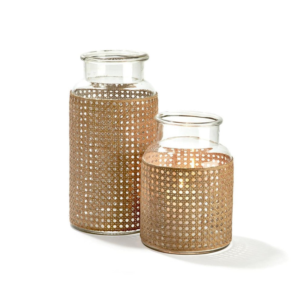 Glass Jar with Cane Webbing