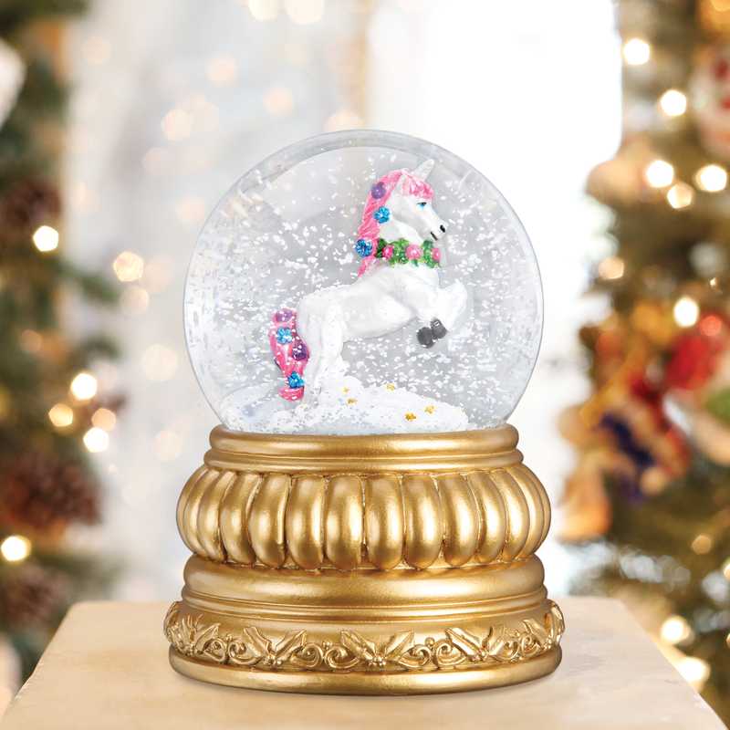 Old Word Christmas Prancing Unicorn Snow Globe - Putti Celebrations Canada