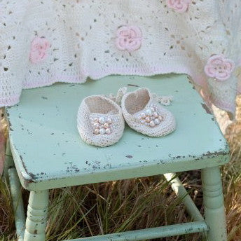 Beige Crochet Baby Booties with Pearls-Baby Booties-Hand Made-0-6 months-Putti Fine Furnishings