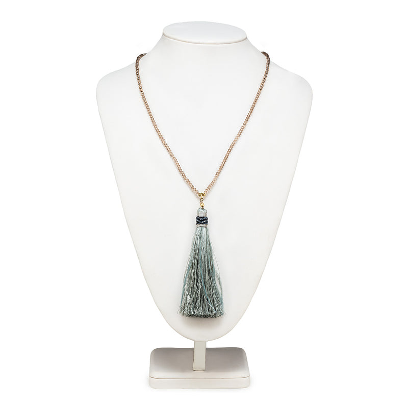Long Necklace with Tassel- Grey, AC-Abbott Collection, Putti Fine Furnishings