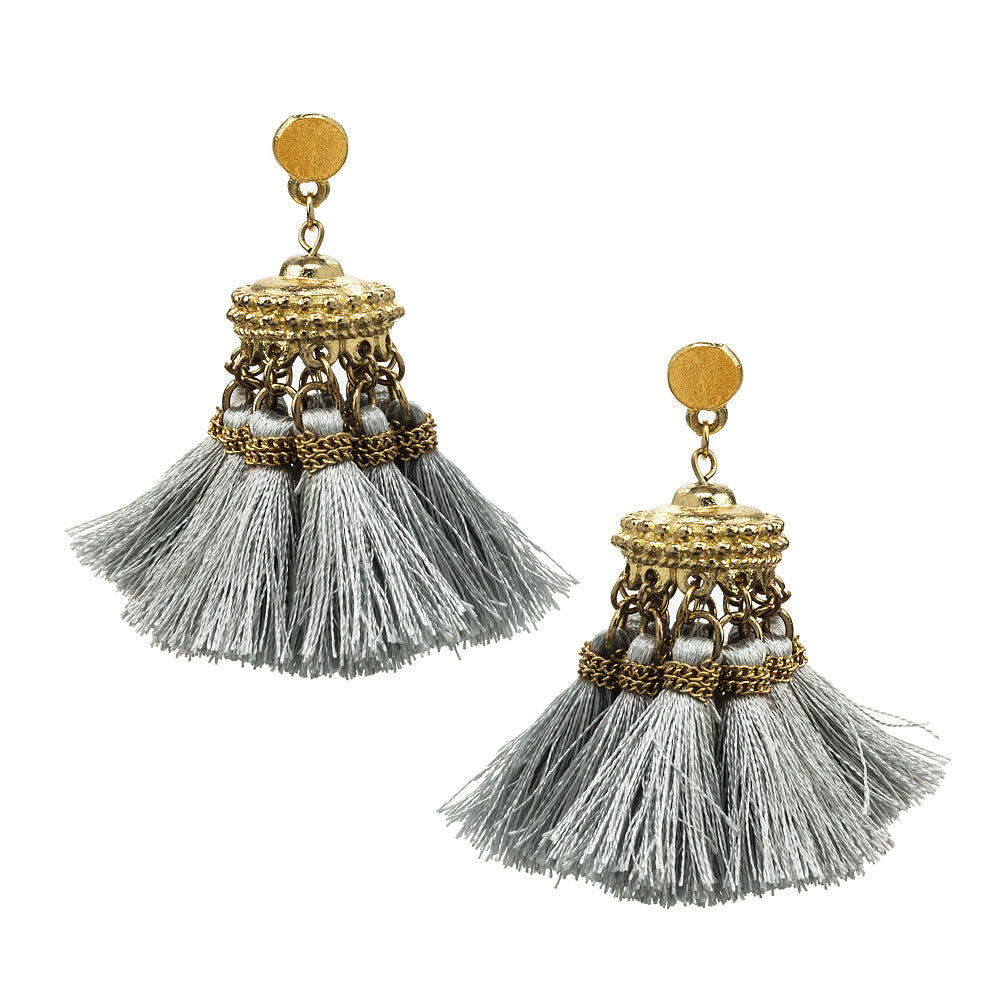 Earring with Tassels - Grey, AC-Abbott Collection, Putti Fine Furnishings