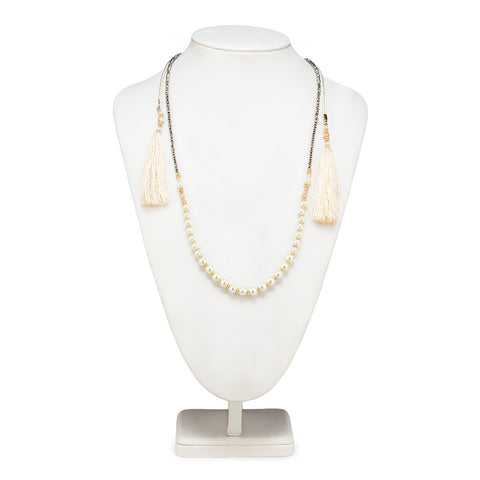 Double Strand Necklace with Pearls - Ivory