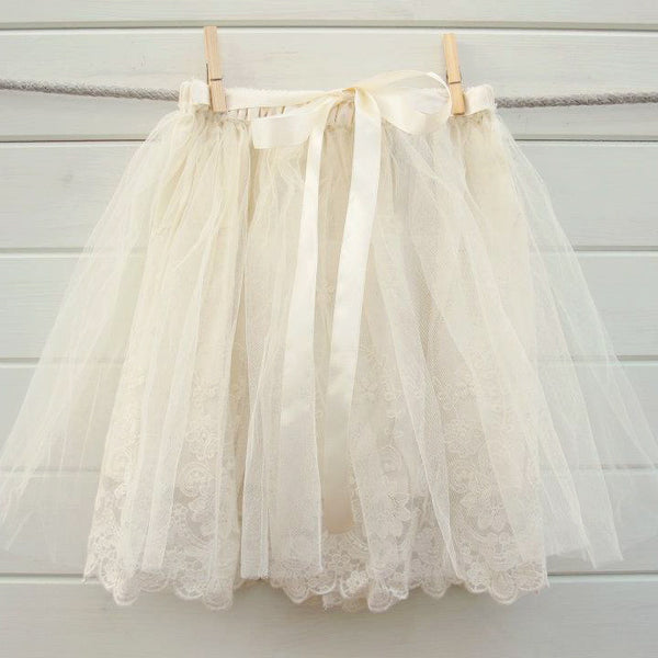 Ivory Vintage Lace Tutu-Children's Clothing-Miss Rose Sister Violet-Putti Fine Furnishings