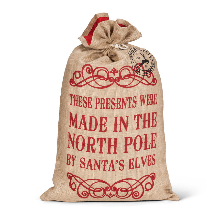 """North Pole"" Burlap Gift Sack - Large"